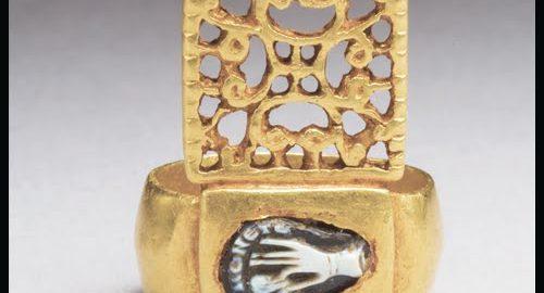 Golden Roman keyring