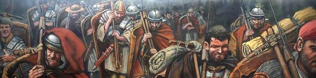 Rzymianie w trakcie marszu w czasie wojen dackich