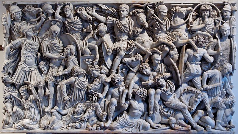 Bas-relief on the sarcophagus showing the clash between Romans and Goths.  Dated to the 3rd century CE