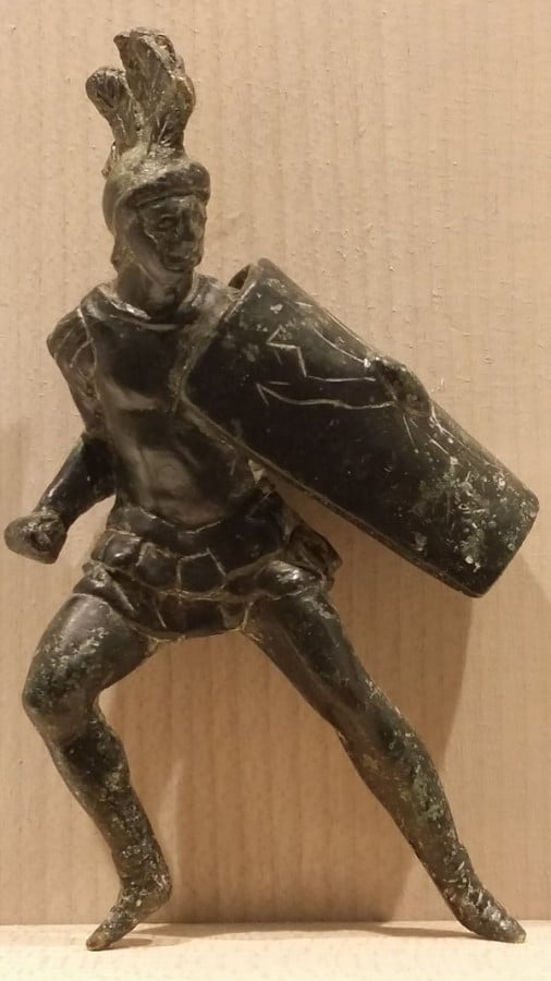 Bronze statuette depicting Roman soldier