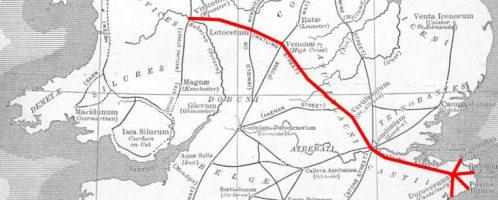 Na czerwono zaznaczona trasa Watling Street