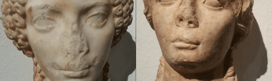 Marble busts of two unknown Roman women