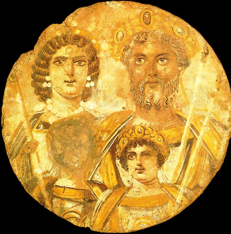 In the picture we see a wooden, round tondo showing: Septimius Severus, his wife - Julia Domna, and two sons: Caracalla and Geta