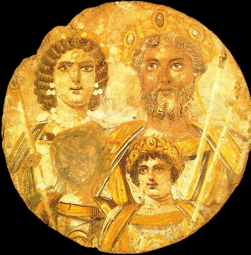 Na zdjęciu widzimydrewniane, okrągłe tondo ukazujące: Septymiusza Sewera, jego małżonkę - Julię Domnę, oraz dwóch synów: Karakallęi Getę