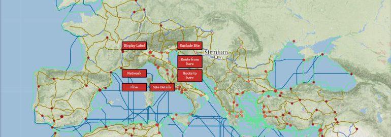 Interaktywna mapa Imperium Rzymskiego ukazująca logistykę w tamtych czasach