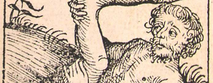 Rycina ukazująca mężczyznę z jedną nogą