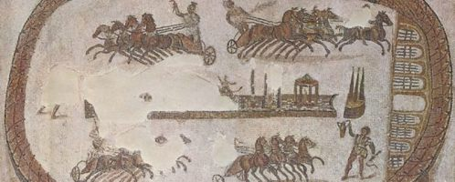 Chariot racing in the painting