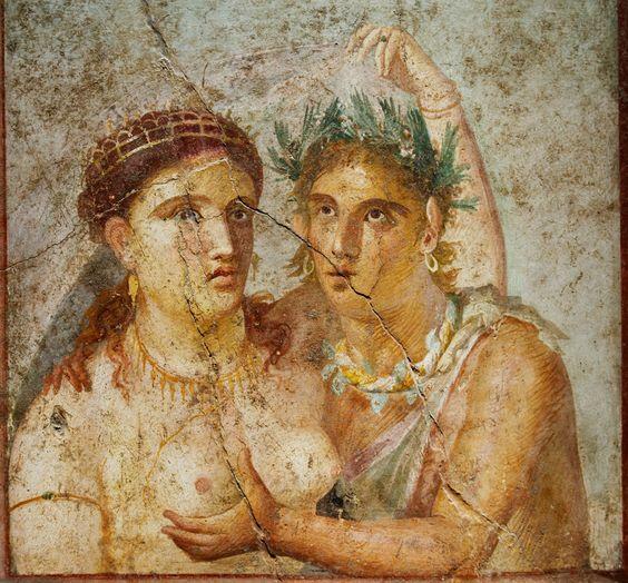 Fresco of Menad and Satyr