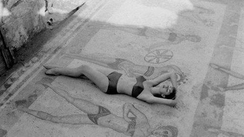 Bikini modeled on the Roman mosaic