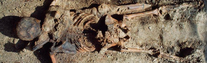 The skeleton of a Roman soldier