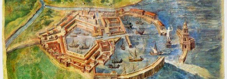 Animacja ukazująca Ostia Antica - port Rzymu