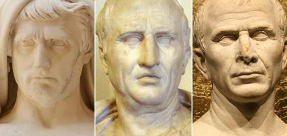 Roman politicians of the 1st century BCE: Cato the Younger, Cicero and  Caesar