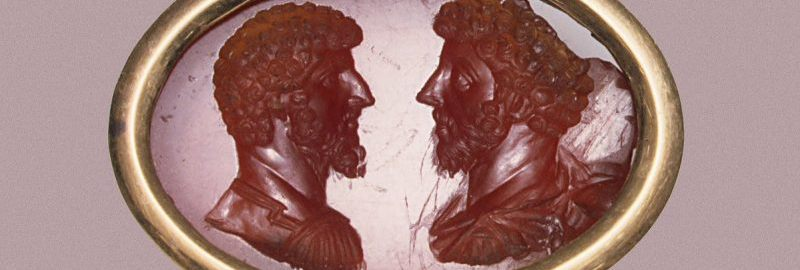 A beautiful image of Marcus Aurelius and Lucius Verus made of carnelian