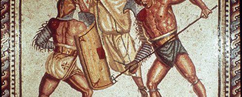 Mozaika ukazująca gladiatorów w czasie walki