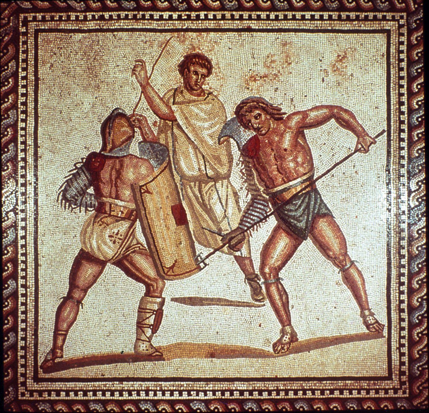 Mozaika ukazująca gladiatorów
