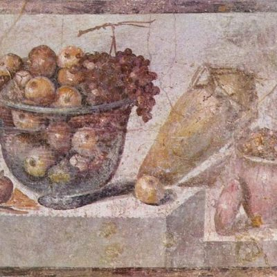 Still life showing a basket of fruit and a vase