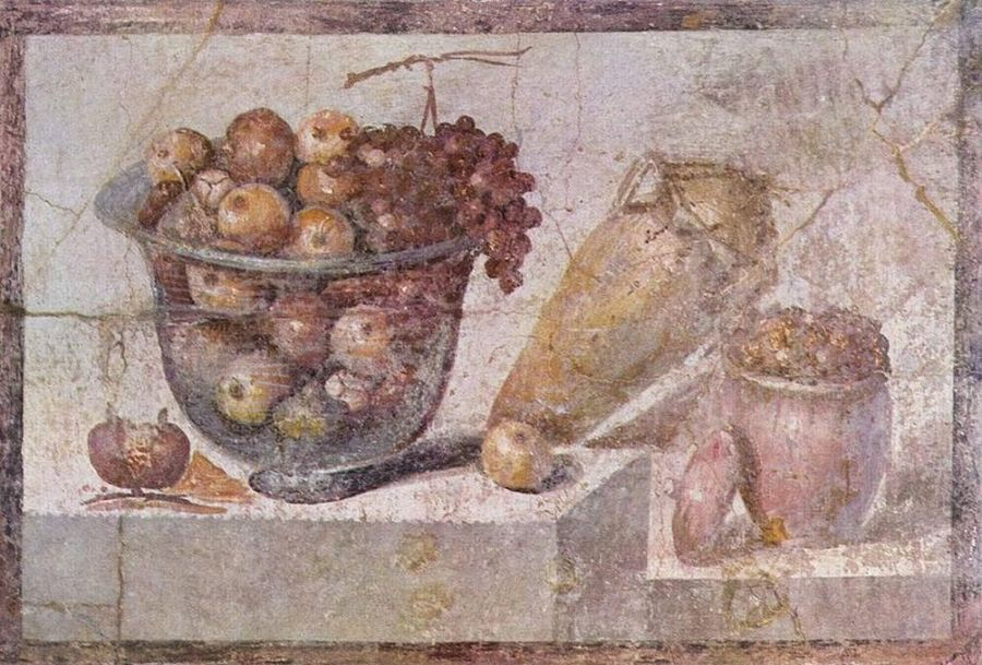 Still life showing a basket of fruits and vases
