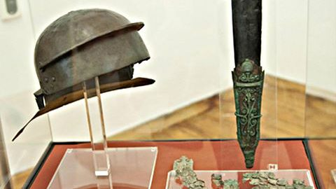 Roman helmet and gladius from Thrace