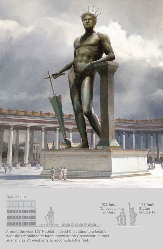 Posąg Nerona przedstawionego jako Helios