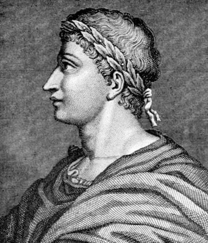 Owidiusz z wieńcem laurowym na głowie