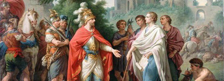 Picture showing Popilius drawing a circle around Antiochus IV. Image:  Louis-Jean-Fran├žois Lagren├ęe.