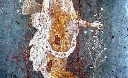 Fresk rzymski ukazujący Florę z kwiatem
