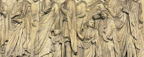 Bas-relief showing the Roman family