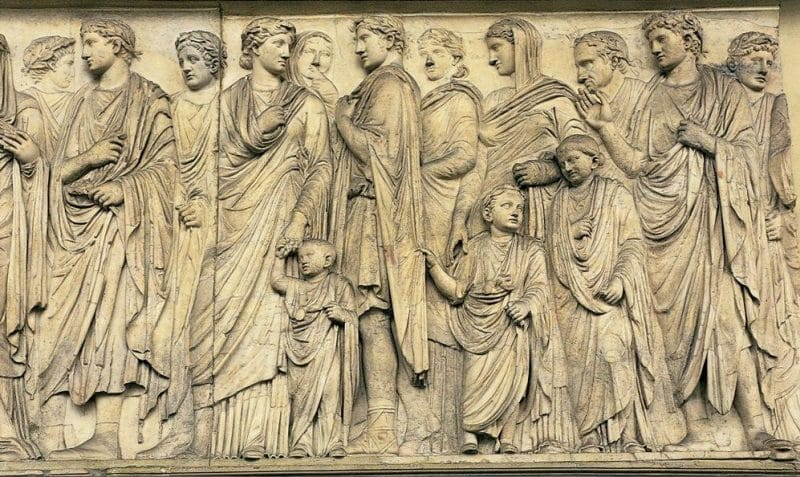 Bas-relief showing a Roman family