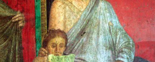 Fresk ukazujący dziewczynkę czytającą papirus. Datowany na I wiek p.n.e.
