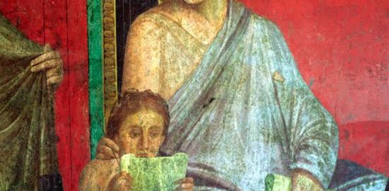 Fresco showing a girl reading papyrus. Dated to the 1st century BCE