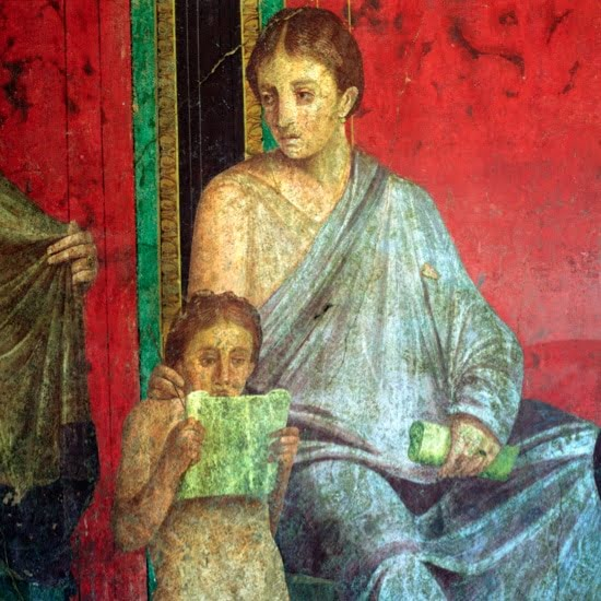 Fresco showing a girl reading papyrus. Dated to the 1st century BCE.