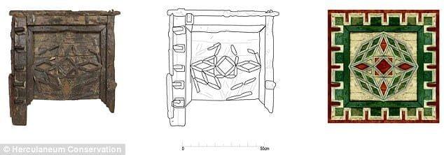 Zrekonstruowano piękny sufit w pałacu w Herkulanum