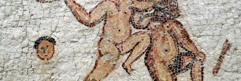 Rzymska mozaika ukazujca ścięcie głowy
