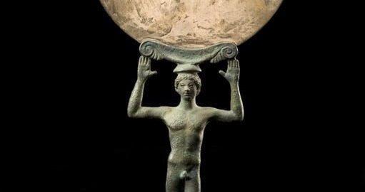 Wykonane ze srebra rzymskie lustro