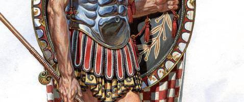 Hoplite in muscular armor