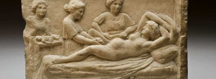 A birthing scene on a Roman sculpture