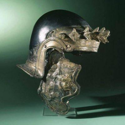 Roman helmet worn by cavalry, dated 150-200 CE Object found in Nijmegen, Netherlands