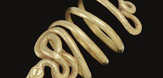 Rzymska złota bransoletka w kształcie węża