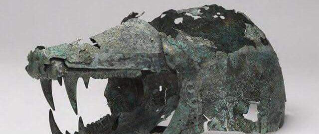 Etruscan helmet in the shape of a wolf's head