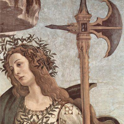 Fragment obrazu Sandro Botticelli'ego - Minerwa i Centaur