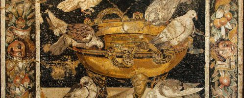 A mosaic showing drinking birds