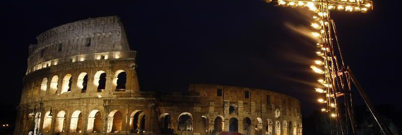 Cross in front of the Colosseum