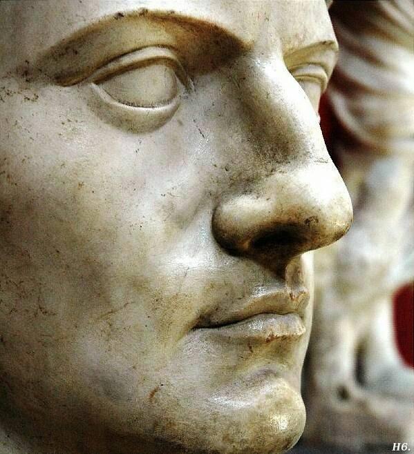The face of Emperor Claudius I.