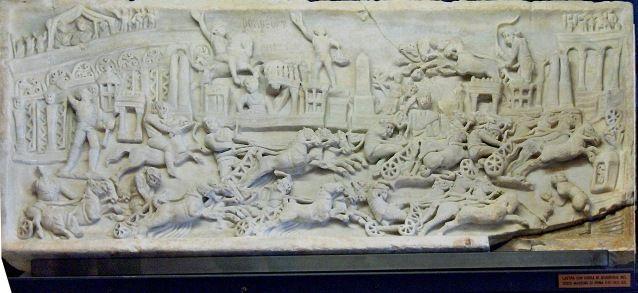 Relief from II-III century CE showing the quadriga race in Circus Maximus