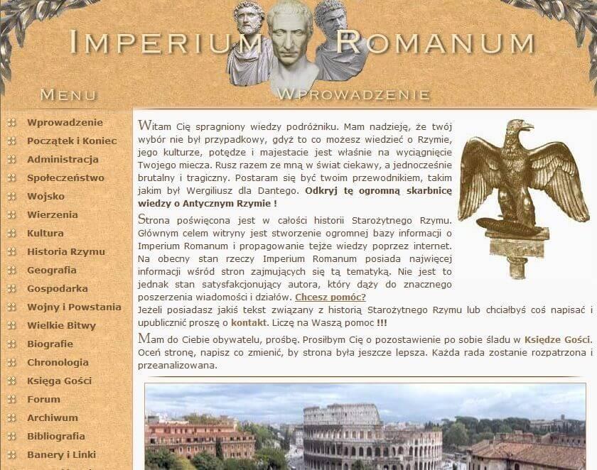 Website IMPERIUM ROMANUM in 2008