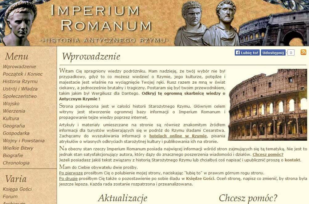 Website IMPERIUM ROMANUM in 2012