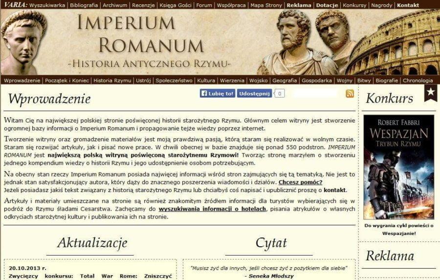 Website IMPERIUM ROMANUM in 2013