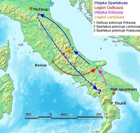 Marsz oddziałów Spartakusa po Italii