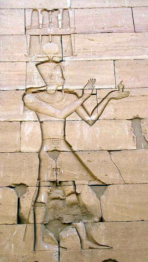 Octavian Augustus depicted in Egyptian style, on the Kalabsha temple in Egyptian Nubia