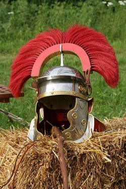 Contemporary reconstruction of the centurion's helmet from the 1st century CE